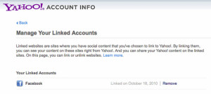 Settings - Manage my linked accounts - Yahoo!
